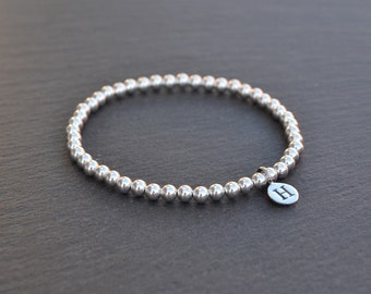 Personalised Sterling Silver Bracelet with Letter Charm