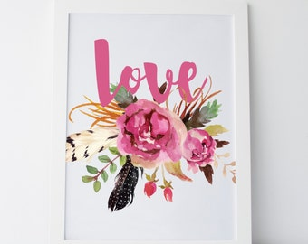 "Printable Art Floral ""Love"" Print Floral Watercolour Print Floral Watercolor Print Dorm Print Dorm Decor Dorm Art Gallery Wall Flower Print"