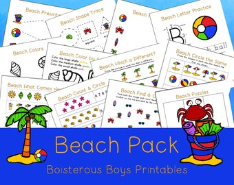 Beach Thematic PreK Early Learning Printable Pack