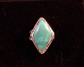 Natural Diamond Shaped Turquoise Ring Size 8