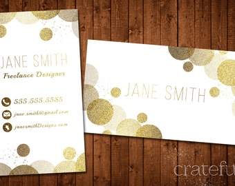 Confetti Glitter Gold Business Card- Custom Printable Business Card- Business Card DIY Digital Download- Personalized Business Card- Modern