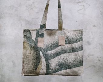 Large Linen Bag / Tote Bag / Summer Bag / Shopping Tote / Linen Moss Bag