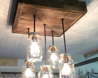 Barn Wood Mason Jar Chandelier (5 Jar)