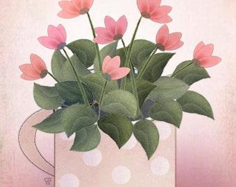 """Modern Contemporary Still Giclee Art Print """"Pink Cup"""""""