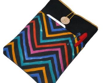 Kindle Fire case / Google's Nexus 7 Sleeve/ Galaxy Tab 7 cover / Nook HD 7 Black, Multicolor Chevron Pockets