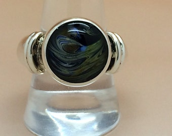 Sterling Silver and Handmade Glass Cabochon Ring Hallmarked
