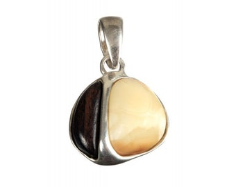 """Silver pendant with amber """"History"""""""