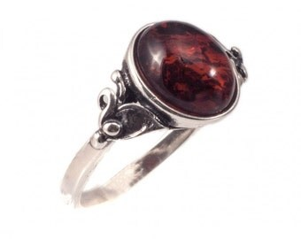Silver ring with amber | Ring Size 6 and 7 US