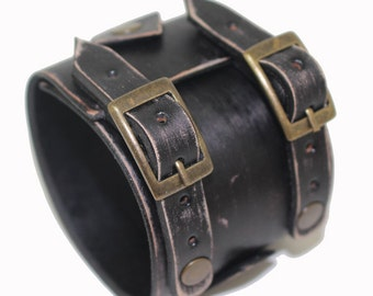 JOHNNY DEPP style leather bracelet genuine leather wristband first class leather cuff men's bracelet worn black