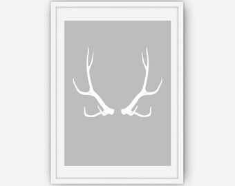 Grey Antler Print, Antler Wall Art, Antler Print, Wall Art, Printable, Instant Download