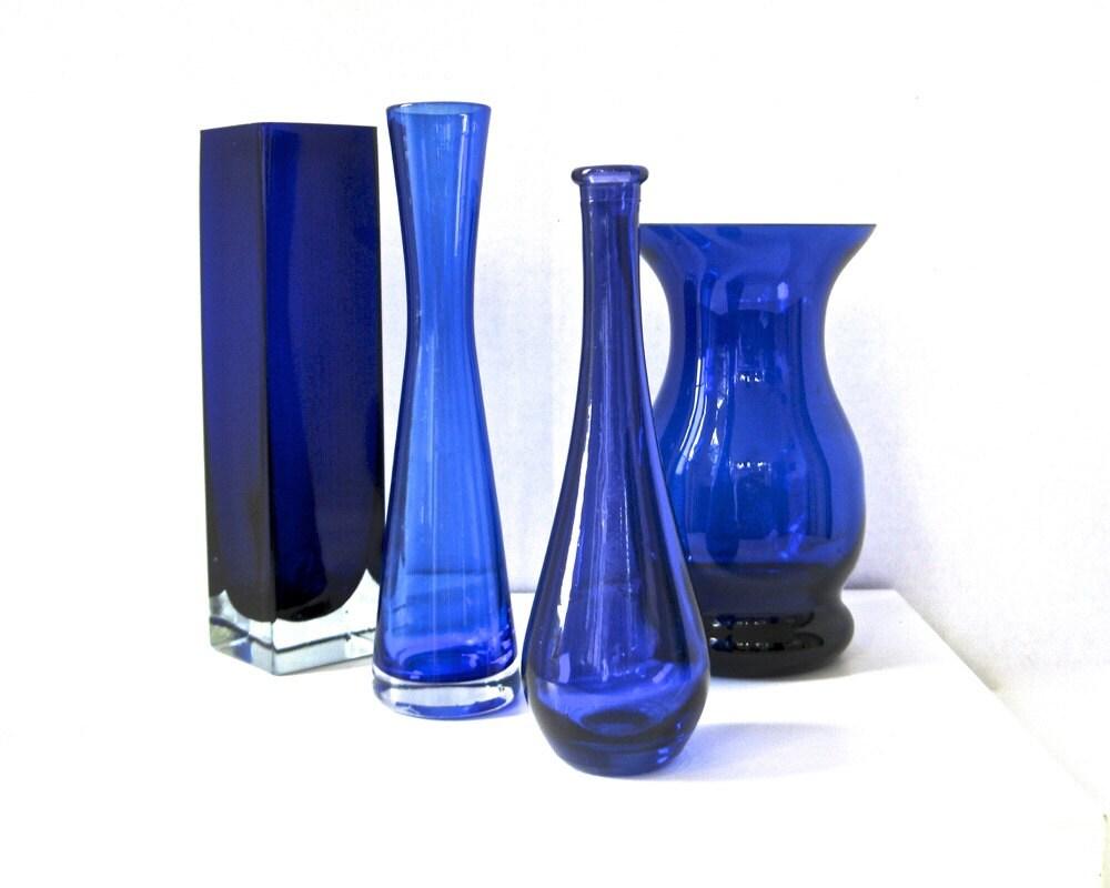 Lot Cobalt Vases X4 Blue Vintage Glass Instant Collection