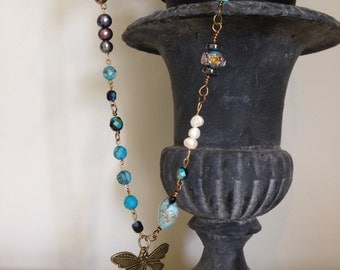 Lucky dragonfly , Vintage style blue necklace