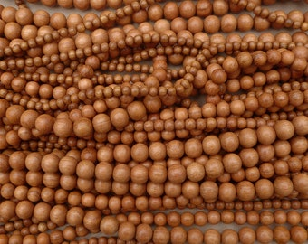Natural Bayong Wood Round Beads Various Sizes 16'' Strand