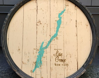 Lake George, NY Map Barrel End