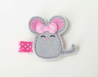 SALE pink mouse felt embroidered hair clip