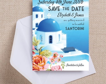 Vintage Santorini Postcard Wedding Save the Date Cards