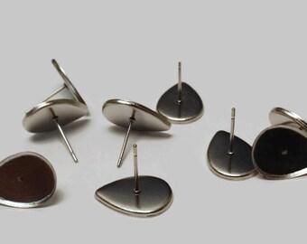 Stainless steel 10x14mm tear drop earring setting 8 pcs