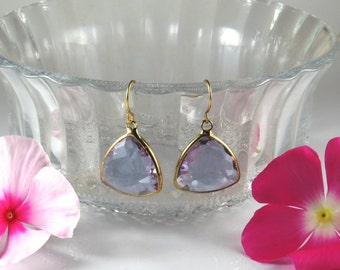 Drop shaped crystal gold earrings , natural stone drop earrings , gold drop earrings , dangle drop earrings
