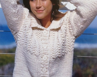 Knitting Pattern Ladies/ Woman's Super Chunky Quick Knit Cardigan/ Jacket Size 32-42in 81-107cm