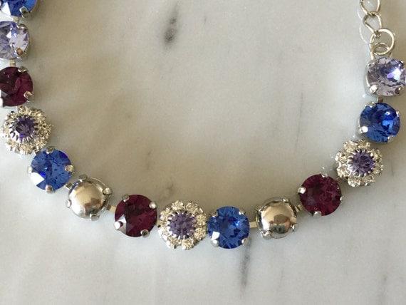 Swarovski Crystal Bracelet, Swarovski Amethyst Crystal Bracelet, Tanzanite Crystal Bracelet, Swarovski Purple Crystal Bracelet