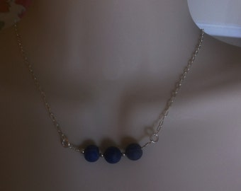 Lapis Lazulii Necklace Blue Lapis Layering Necklace 925 Sterling Silver Blue Lapis Beaded Necklace Lapis Bar Necklace December Birthstone