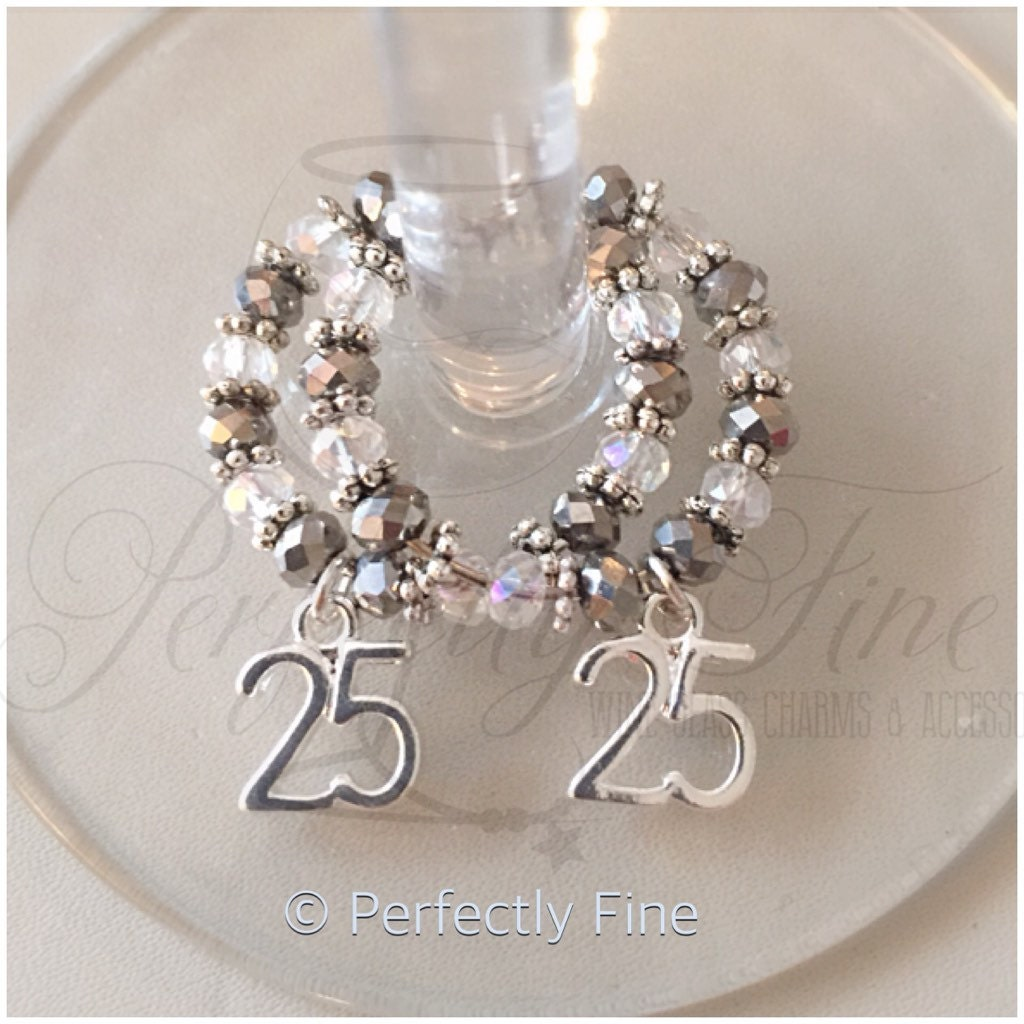 25th silver wedding anniversary wine glass charms 25th for Silver wedding dresses 25th anniversary