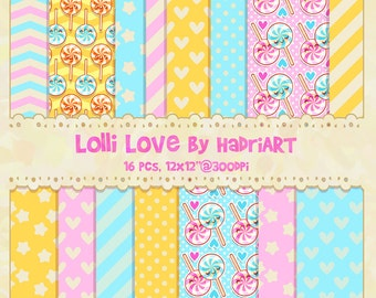Kawaii Lollipop Digital Paper With Dots, Hearts, Stripes and Stars in Pastel Colors of Baby Blue, Pink and Yellow