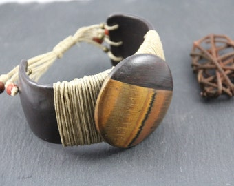 very original ethnic cuff bracelet, polymer and linen, tiger eye and ebony imitation