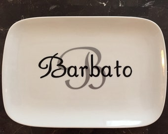 Personalized Porcelain Serving Platter - Initial and Name