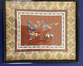 Vintage Chinese Embroidery Picture / Hand Stitched Salmon Silk Picture, Flower and Bird Pattern