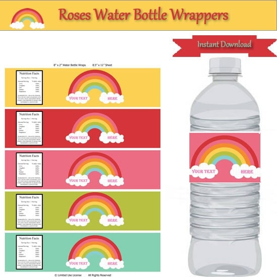 Rainbow party water bottle label wrappers instant download for Water bottle label template free word
