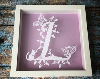 Initial Handmade Papercut (unframed)