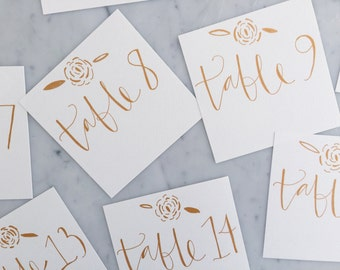 Custom Square 12cm x 12cm Hand Drawn Rose Gold Lettering Sign / GARDEN LOVE/ Table Number Signs / Calligraphy / Party Wedding Birthday Hens/