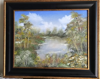 """COLORS of AUTUMN original oil painting 11""""x14"""", framed"""