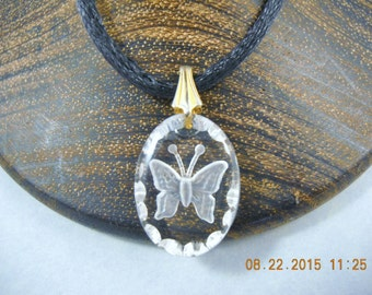 """INTAGLIO Butterfly Small Oval Crystal Pendant .875"""""""
