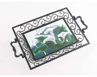 Pond Lillie's Iron & Ceramic Tray