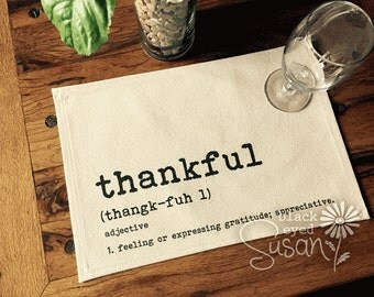 "Thankful Placemat of Natural 100% Cotton Canvas or Burlap | Cotton Backing | 11"" x 16"""
