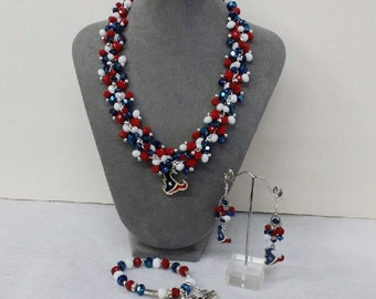 Houston Texans Set - Chunky Necklace, Bracelet and Chandelier Earrings