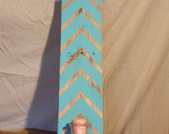 Patterned Blue Candle Holder