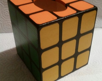 Replica Wooden Solved Rubic's Cube Tissue Box Cover