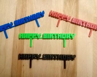 Miner Inspired Happy Birthday - Cake Topper