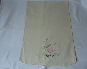 Vintage French hand embroidered cream cotton chair back cover or crafts