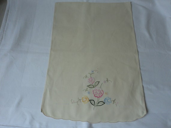 french hand embroidered cream cotton chair back cover or crafts
