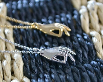 Hand Necklace | OK Symbol Pendant | Dainty Layering Jewellery
