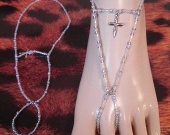 Light Blue and White Barefoot Sandals with Silver Cross