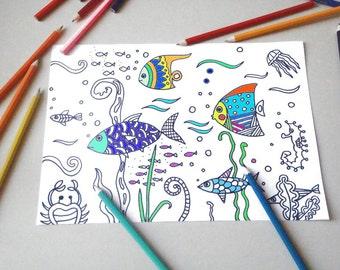 Pagina da colorare bambini alfabeto kawaii baby scuola lettere - Pagine da colorare pesci per adulti ...