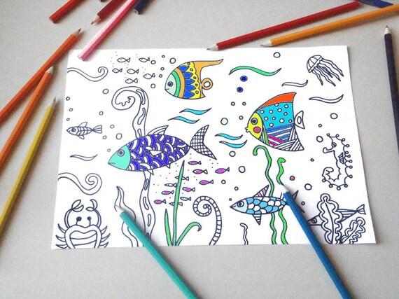 Pagina da colorare per bambini pesci di mare zen meditazione for Pesci da stampare e colorare