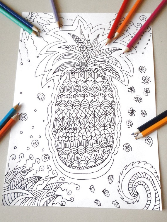tropical pineapple adult coloring