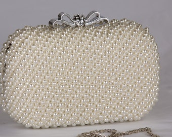 Pearl Crystal Clutch, Vintage Wedding Accessories, Bridal Clutch with Crystal Accent, Bridal Evening Bag ,Prom Clutch, Formal Party Bag c57