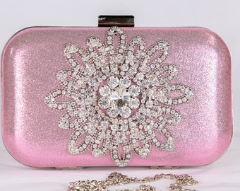 Pink wedding clutch, Bridal clutch, evening bag, Modern clutch, bridesmaid bag, crystal clutch c65